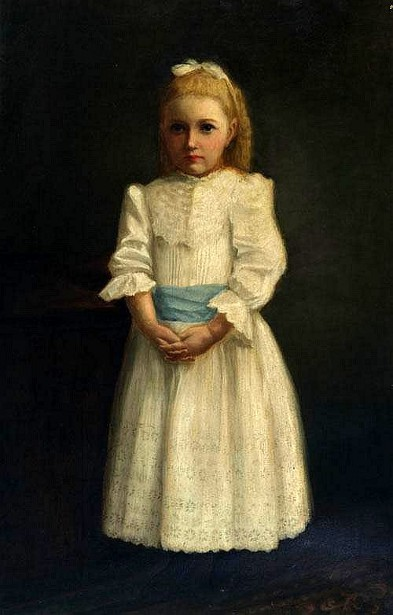 Young Girl In White Dress With Blue Sash