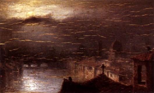 A River And City View Through Moonlit Clouds