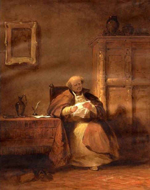 Cleric Seated At A Table Reading