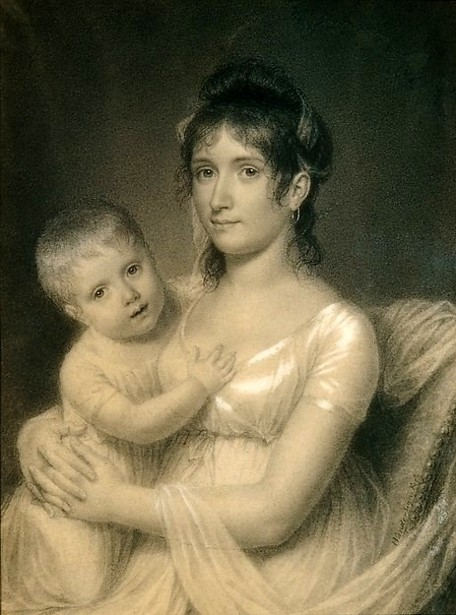 Mrs. Daniel Strobel jr. (Anna Church Strobel) And Her Son, George