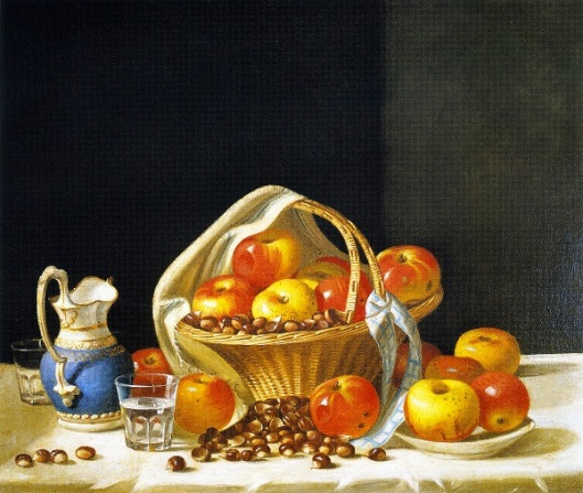 Basket Of Apples And Chestnuts On A Table