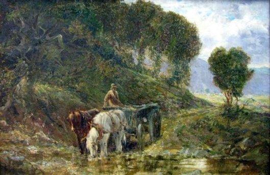 Horse And Cart At Stream