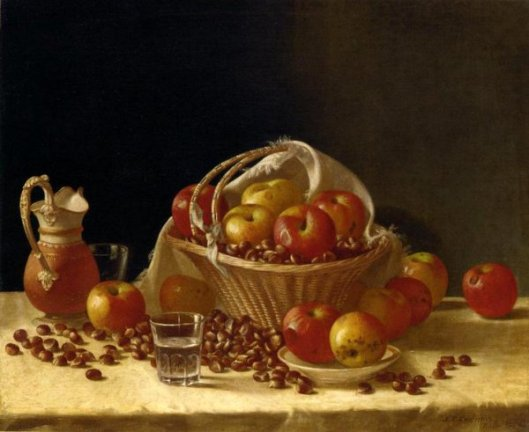 Apples, A Basket And Chestnuts
