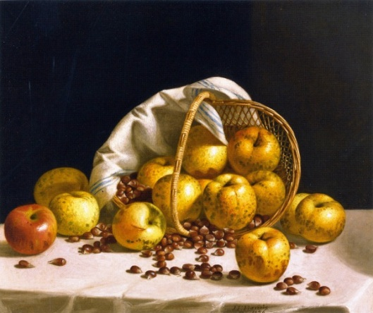 Yellow Apples And Chestnuts Spilling From A Basket