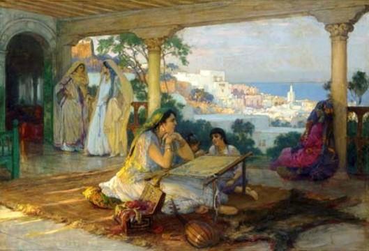 An Eastern Veranda - Ladies Sewing On A Veranda