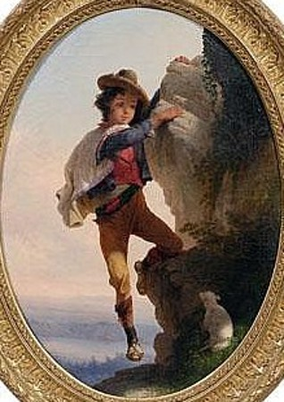 Boy Rescuing Lamb On Rocky Cliff In The Roman Campagna