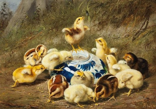 Chicks Around A Blue Bowl