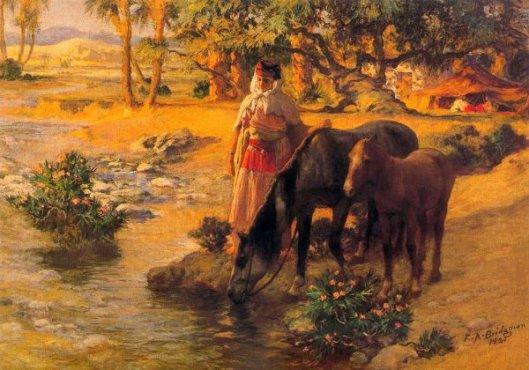 Woman Watering Horses