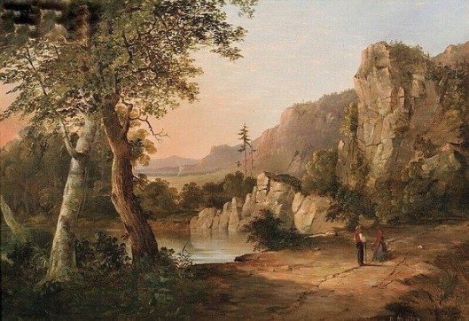 Figures By A Mountain Lake