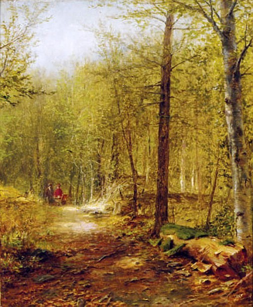 Figures On A Path Through The Forest