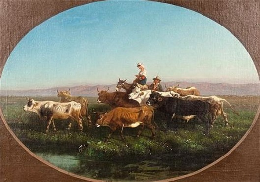 Italian Peasants Leading Cattle In A Landscape