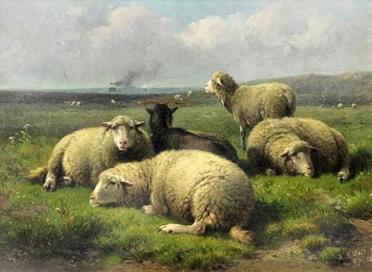 Sheep And A Goat In A Pasture