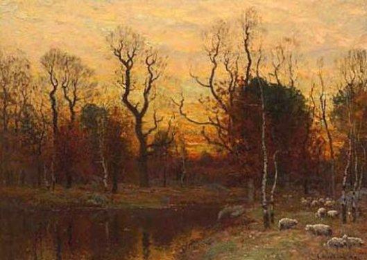 Sheep By A Pond