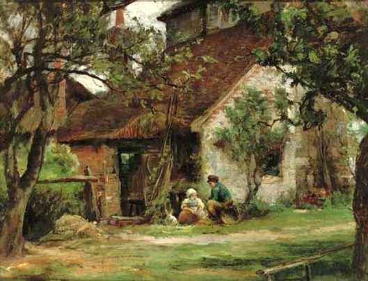 Two Children And A Rabbit - In A Cottage Garden