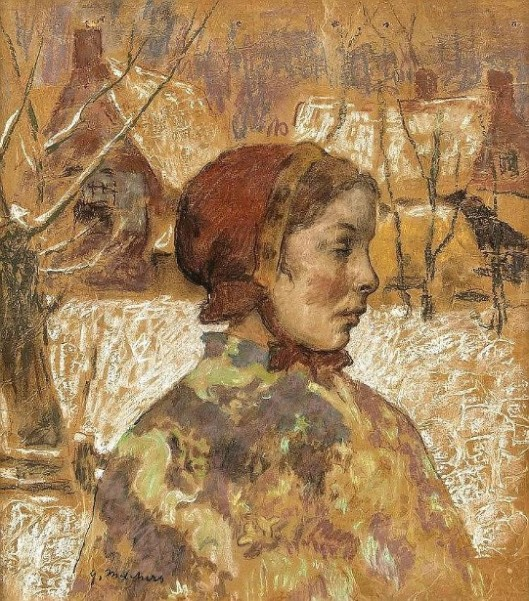 Young Woman With Red Scarf In A Snowy Garden