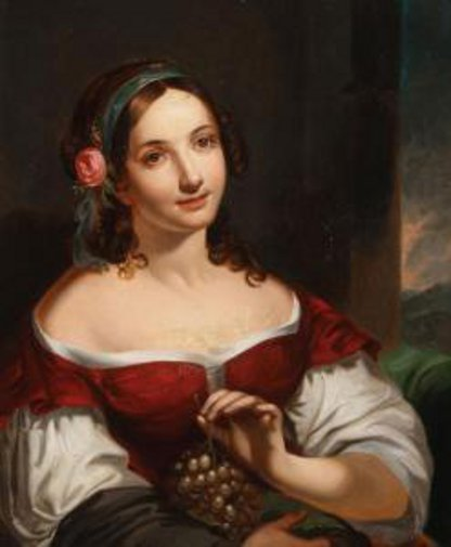 Young Woman With Rose Holding Grapes