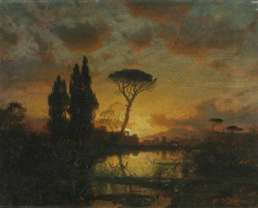Italian Landscape At Sunset