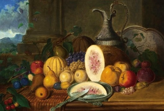 Still Life With Flower, Melon And Apples