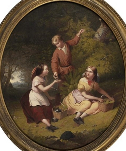Three Children Picking Berries