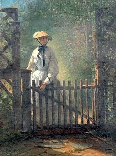 A Young Lady At The Garden Gate