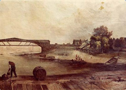 View Of Trenton, N.J., Showing The Old Bridge Over The Delaware River