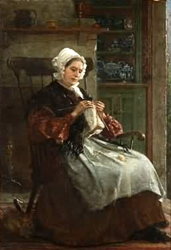 Woman Knitting, Cat By Her Feet