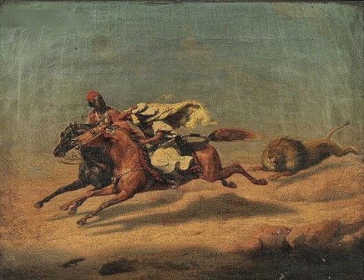 Arab Horsemen Fleeing A Lion