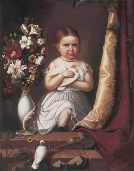 Child In White Dress Holding Doves