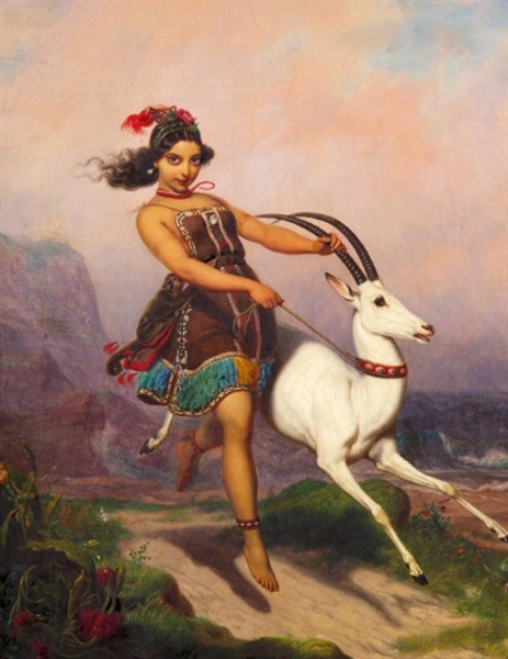 Girl And Her Gazelle Prancing Through The Hills