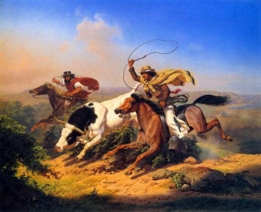 Vaqueros Roping A Steer