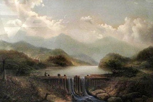 Hudson River With Waterfall And Figures