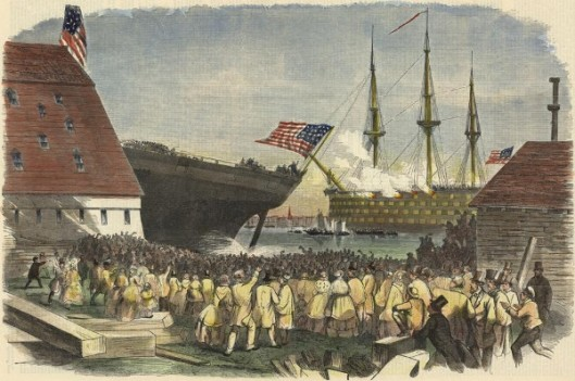 Launch Of The United States Steam Corvette Richmond, At Norfolk, Virginia, On January 26, 1860