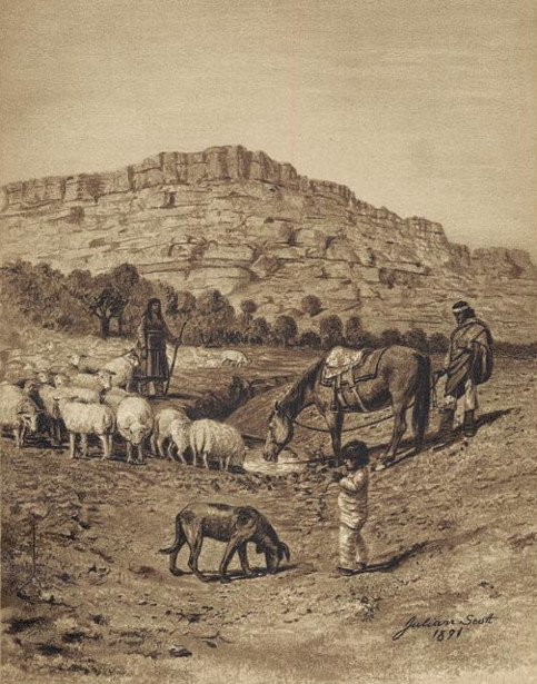 Navajo Family With Flock Of Sheep