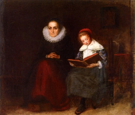 Old Woman And Child Reading A Book
