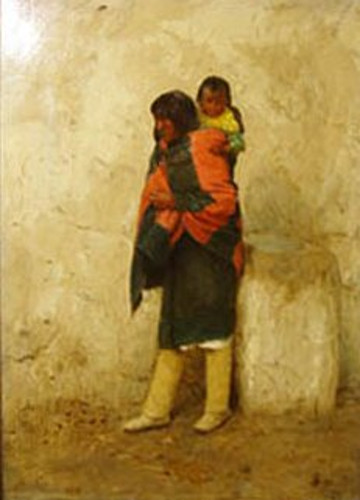 Typical Pueblo Indian And Child