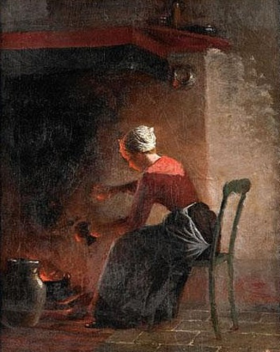 Woman Sitting In The Glow Of The Hearth