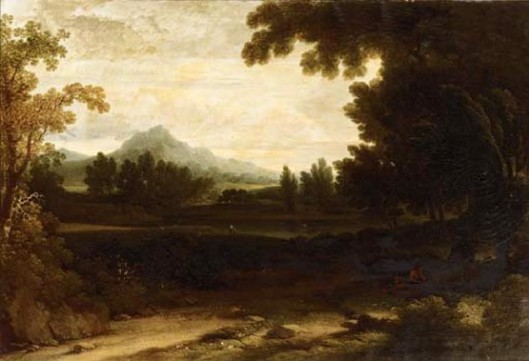 A Mountainous Landscape With A Figure Resting By A Tree