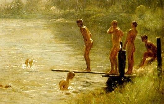 Nude Boys Swimming At A Lake