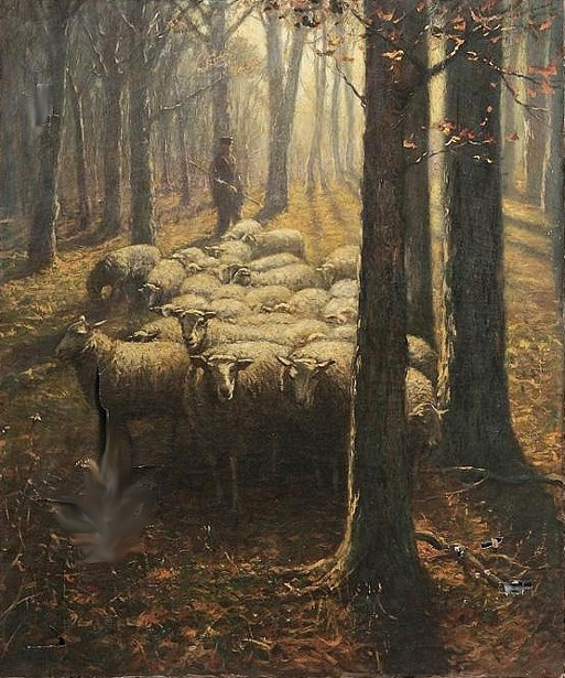 Shepherd And Sheep In A Woodland