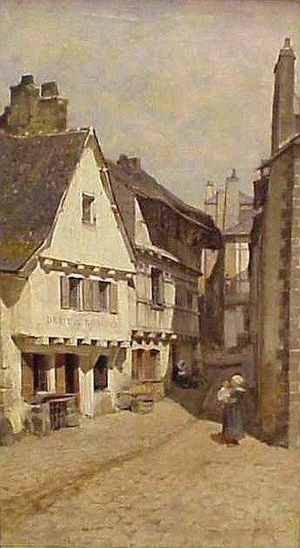 French Village Scene With Figures