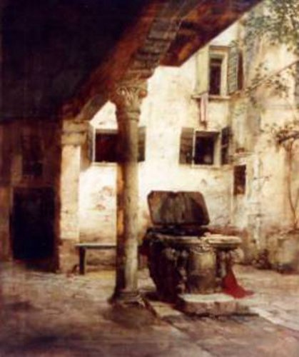 The Courtyard Of Titian's House In Venice