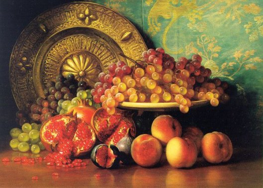 Figs, Pomegranates, Grapes And Brass Plate