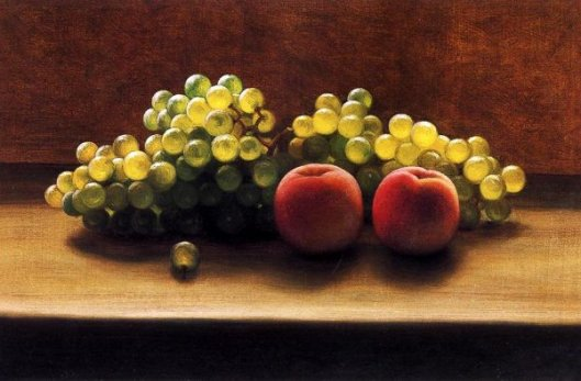 Peaches And Grapes On A Tabletop
