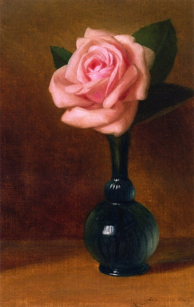 Pink Rose In A Green Vase