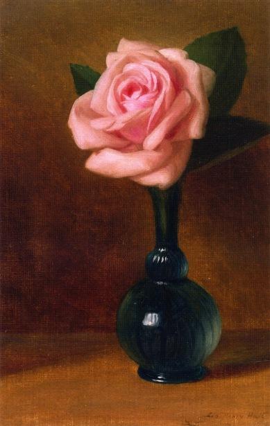 Pink Rose In A Green Vase