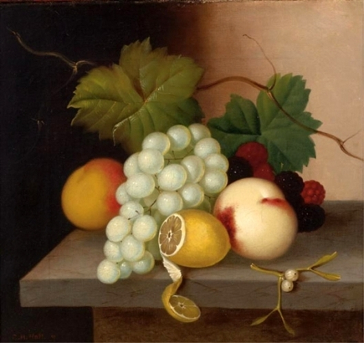 Still Life With Grapes, Peaches, Raspberries, Blackberries And A Lemon