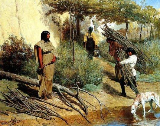 Crow Women Gathering Wood