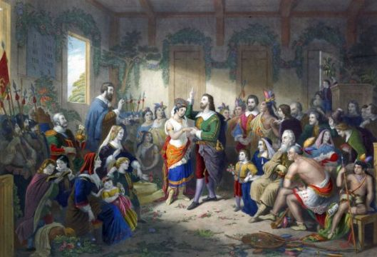 Marriage Ceremony of John Rolfe And Pocahontas