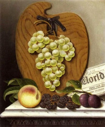 A Still Life With Green Grapes, A Palette And A Newspaper