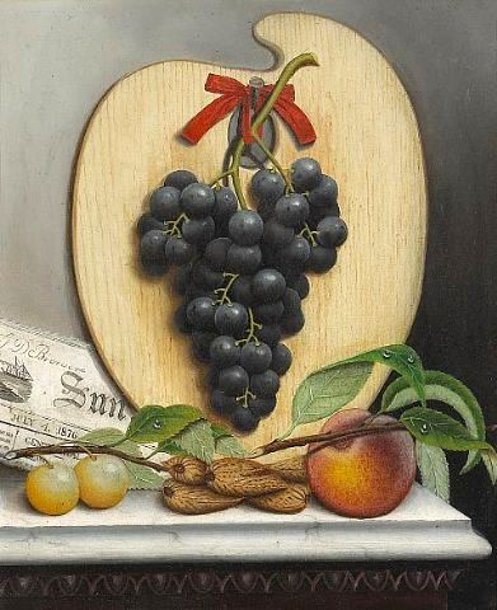 A Still Life With Purple Grapes, A Palette And A Newspaper